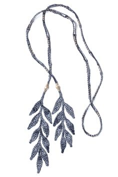 Leaf Lariat Necklace • Slate • Silver beads • Crochet • Designed by Kelli Ronci for CORDA