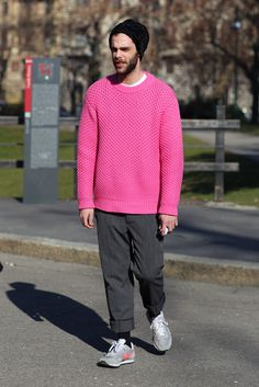 the best time to wear a pink prada sweater...is all the time.