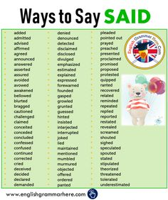 Different Ways to Say SAID in English added admitted advised affirmed agreed announced answered asserted assured avoided avowed awakened bellowed Essay Writing Skills, Book Writing Tips, English Writing Skills, Writing Words, Ways To Say Said, Other Ways To Say, English Sentences, English Phrases, Grammar Sentences