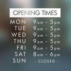 Opening Hours Times Shop Custom Vinyl Sign / Sticker   eBay