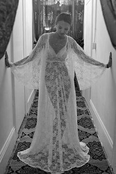 Sheer Lace Bridal Robe Bridal Lingerie Wedding by SarafinaDreams