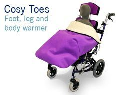 The New Cosy Toes Feet and Leg Warmer for Wheelchairs with Special Seating. Helps keep the clients legs warm on cold days. Easy to attach.