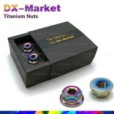 m8 , 6pcs /set , AB color , Titanium m8 flange waterproof nut Model Tuning Parts ,   Lighter and stronger fastener