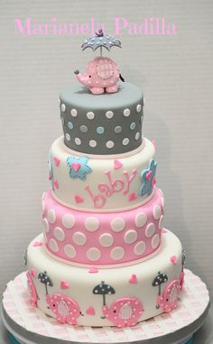 Pink girly elephant baby shower cake.