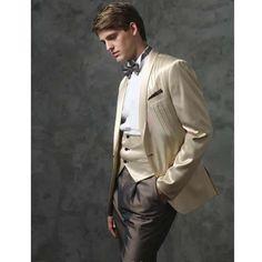 Mens 5 Piece Cream Satin Dinner Wedding Prom Tuxedos Dress Suits SKU-123013