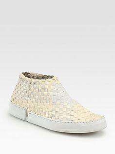 Edmundo Castillo Emanuelle Woven Leather & Canvas Laceless Sneakers