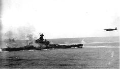 Battleship USS South Dakota (BB-57) and Japanese torpedo plane, Battle of Santa Cruz, 1942