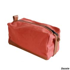 Terracotta Canvas and Leather Dopp Kit