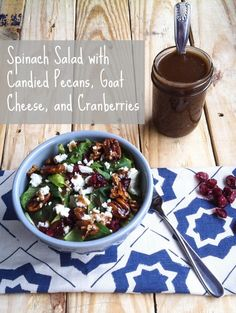 spinach salad with candied pecans, goat cheese & cranberries