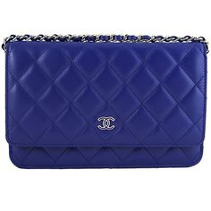 Pre-Owned Chanel 2015 Purple Blue Lambskin Classic CC WOC 3way Wallet... ($2,699) ❤ liked on Polyvore