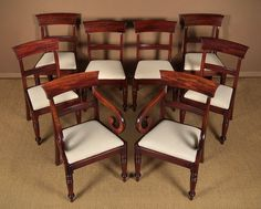 Set Of Eight William IV Mahogany Dining Chairs. - Antiques Atlas