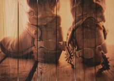 Super cool idea...if the hieght were the length it would go perfect in my living room!! (33x24 Cowboy Boots on Kiln Dried Western Red Cedar by DaydreamHQ $199.00)