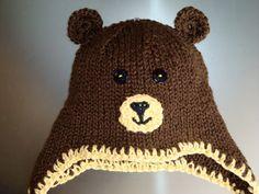 Brown Teddy Bear Hat with Earflaps and by FiberFlowersAndBeads