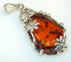 $81.25 Great Style Polish Amber Sterling Silver Pendant at www.SilverRushStyle.com #pendant #handmade #jewelry #silver #amber