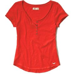 Hollister Short Sleeve Relaxed Henley ($9.97) ❤ liked on Polyvore featuring tops, red, short sleeve tops, relaxed fit tops, red short sleeve top, henley top and red top