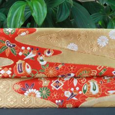 """$60.00 AUD Japanese Vintage Silk Fukuro Obi Clutch Purse.  Created from a vintage (1950's-1980's) 100% silk Fukuro obi.  It features a beautiful design of """"kiku"""" (chrysanthemums) and """"ume"""" (plum blossoms) with young pine, scroll and drum on a stream motif."""
