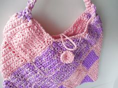 Shoulder Bag Purse  Bag  Pink and Purple  by ShelleysCrochetOle
