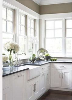 natural light in kitchen no window treatment