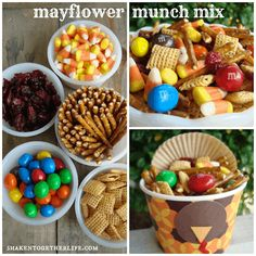This is so cute for Thanksgiving. Maybe even Fun Friday! shaken together: {taste this} mayflower munch mix(Harvest Snack Mix) Fall Recipes, Holiday Recipes, Desert Recipes, Thanksgiving Snacks, Kindergarten Thanksgiving, Thanksgiving 2020, Preschool Snacks, Kid Snacks, May Flowers