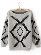 Grey Long Sleeve Geometric Print Pullovers Sweater - Sheinside.com $43
