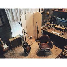 Josh Garrels tracking acoustic guitar in his studio