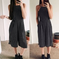 Striped Culotte Jumpsuit I have a similar black on white version and I love it! Sophisticated day to night outfit. Looks great with a blazer or leather jacket.   Price is firm. BWC03161   •Pockets at sides. Zipper and string tie in back •I'm a size 2/26 wearing a SM. True to size.  •Fabric Content: 98% Poly 2% Span •Available in S, M, L •Made In the USA   ❌No trades ❌No PayPal ❌No asking for the lowest price Pants Jumpsuits & Rompers