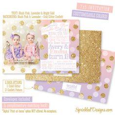 First Birthday Invitation for Twin Girls, Blush Pink Lavender Purple Peach Mint Aqua Gold Glitter - BIG ONE 1st Birthday with Photo by SprinkledDesigns.com