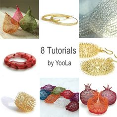 How To Crochet Wire Jewelry | Crochet Wire Jewelry Patterns in PDF - ring, sunflowers, hoops ...