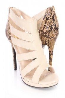 Beige Cut Out Animal Print Heel Booties Faux Leather