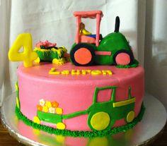 Girl tractor cake