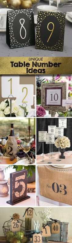 8 Unique Wedding Table Number Ideas including the kraft vintage bottle/vase number tags that we love! (Bottle Wedding Ideas)