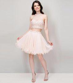 Luxury Homecoming Dresses Two Pieces 2017 Beaded Rhinestones Prom Dresses Sweet 16 Junior Graduation Vestido De Festa Curto