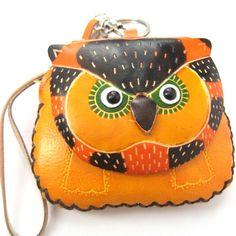 Handmade Owl Bird Animal Coin Purse with Wrist Strap and Key Chain $10 #purse #handmade #animals