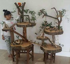 Tree house for fairy garden Diy Bird Toys, Diy Toys, Homemade Bird Toys, Diy For Kids, Crafts For Kids, Wood Crafts, Diy And Crafts, Fairy Tree Houses, Pet Bird Cage