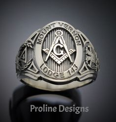 Customized Scottish Rite Masonic ring in Sterling Silver ~ Cigar Band Style - ProLine Designs Sterling Silver Rings, Silver Jewelry, Men's Jewelry, Jewlery, Masonic Symbols, Cigar Band, Engraved Rings, Beautiful Gift Boxes, Silver Flowers