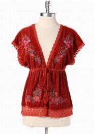 World Fair embroidered velvet cardigan