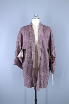1960s Vintage Haori Kimono Jacket / Purple Dyed Shibori  #vintage #shopvintage