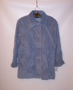 NWT DENNIS BASSO Blue Gray Genuine Leather Suede Jacket Coat  Warm Lining Sz M #DennisBasso #BasicCoat