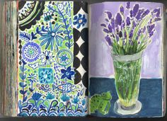 Augustwren,. Painting a Day, Sketchbook, lavender, flowers, still life,