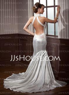 Sheath/Column Halter Court Train Charmeuse Wedding Dresses With Ruffle Beadwork (002012202)