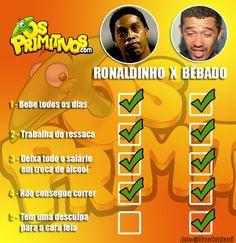 As diferenças entre Ronaldinho Gaúcho e o bêbado