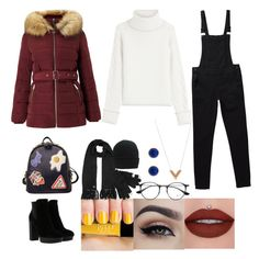 """""""Puffer jacket"""" by mavel-loving-whovian ❤ liked on Polyvore featuring Karl Lagerfeld, Miss Selfridge, WithChic, Ray-Ban, Hogan, Louis Vuitton and Jamie Joseph"""