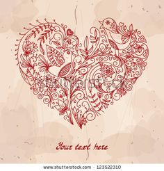 Vector heart made from small doodles (flowers, leafs, birds). Hand-drawn abstract illustration with grunge background can be used for wedding, Valentines Day greeting card, banners, signs by Alextanya, via ShutterStock. Stock VECTOR available for sale at shutterstock.  (c)AlexTanya.