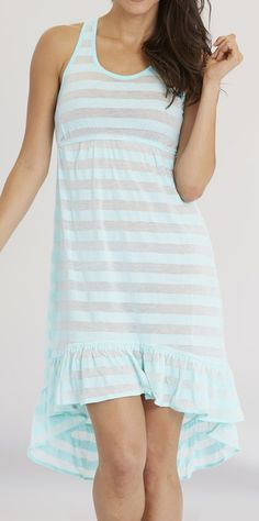 Icy Blue Stripe Ruffle Hi-Low Cover-Up