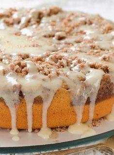 Sour Cream Coffee Cake Recipe With Maple Glaze - A Delicious, Traditional, Moist, Rich Cake, With Just The Right Streusel
