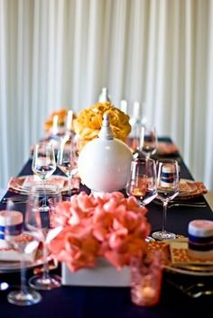 inspiration for baby room High Street Market: Coral Pink and Navy Wedding! Mustard Wedding Colors, Yellow Wedding, Floral Wedding, Dream Wedding, Wedding Themes, Wedding Decorations, Wedding Ideas, Coral Kitchen, Orange Table