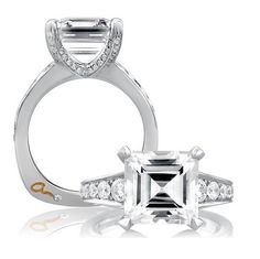 18K white gold pave diamond engagement ring.