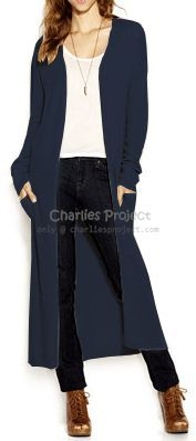 Navy Soft Long Duster