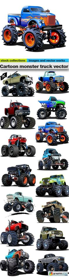 Cartoon monster truck vector 15 x EPS  stock images