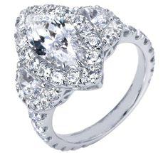 Marquise Diamond Halo Engagement Ring Half Moon Side stones - ES1042